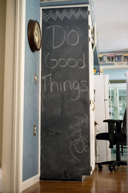 Chalkboard wall completed