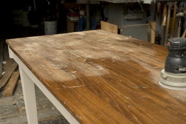 Sanding table top down