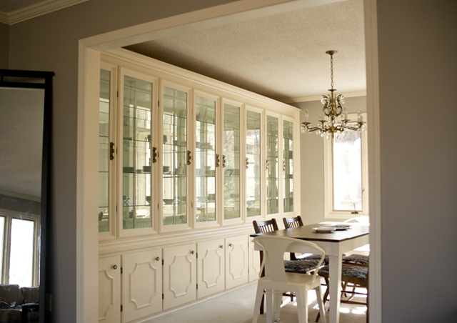 formal dining room built in china cabinet