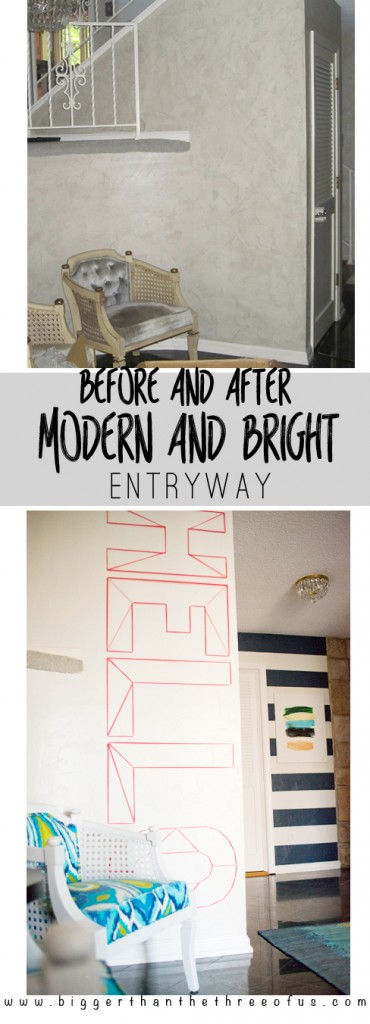 Check out this modern and bright entryway that includes lots of DIYs!