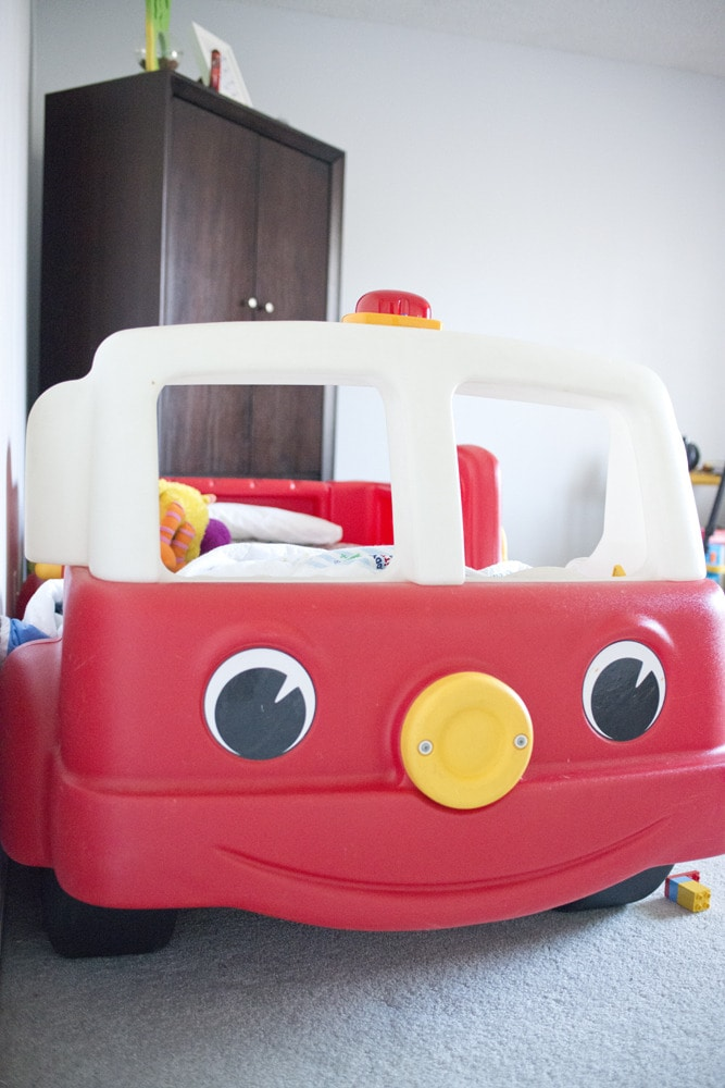 Greyson 39 s room bigger than the three of us - Ikea fire truck bed ...