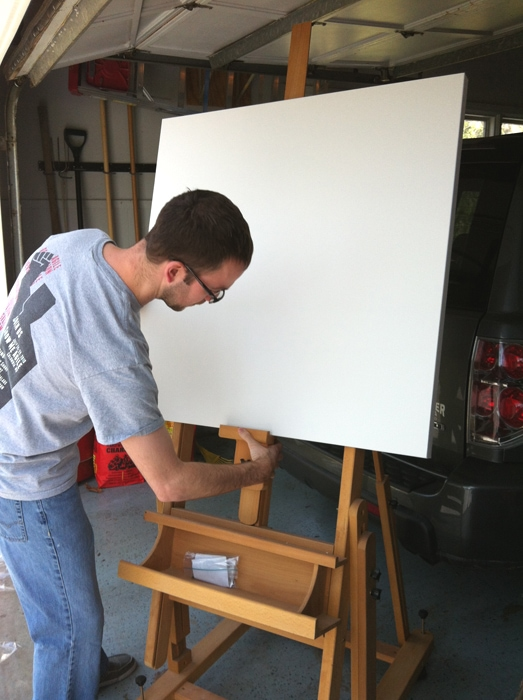 getting the easel ready for painting