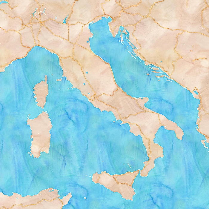 Watercolor Italy Stamin Map