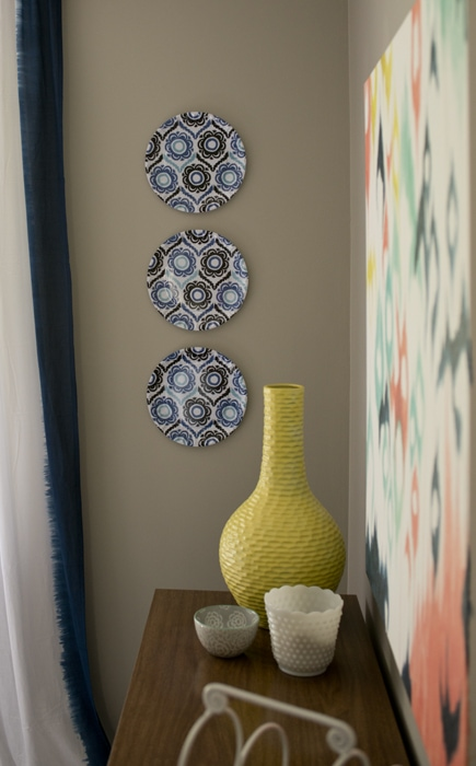 close-up of plastic plates in formal dining room