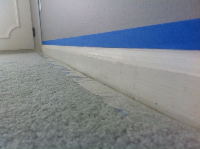 painting baseboards with carpet