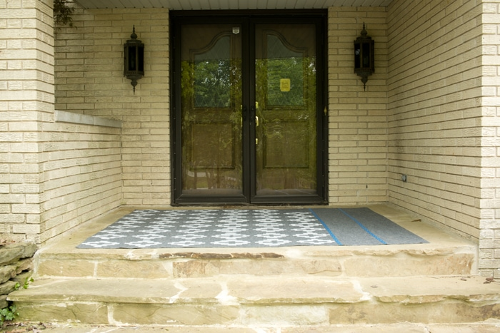 Yellow brick and double front doors picture of