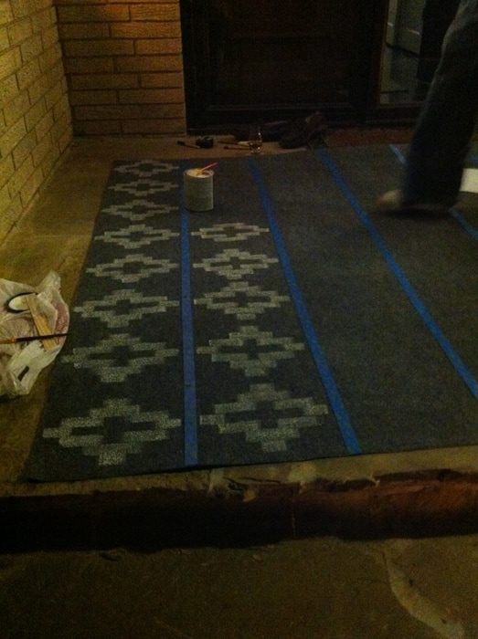 starting on the second row of the painted cheap rug