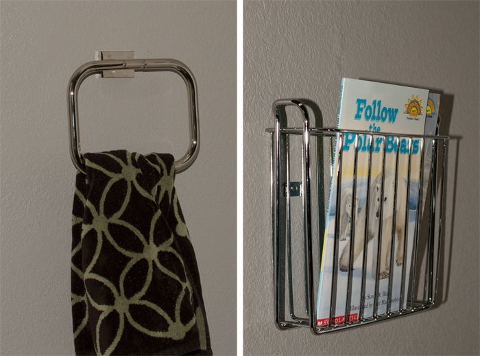 towel ring and book rack for bathroom