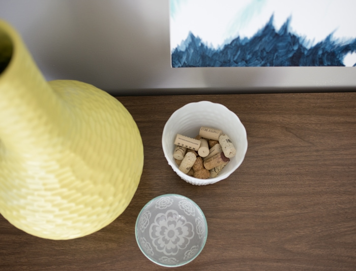 west elm bowl and wine stoppers