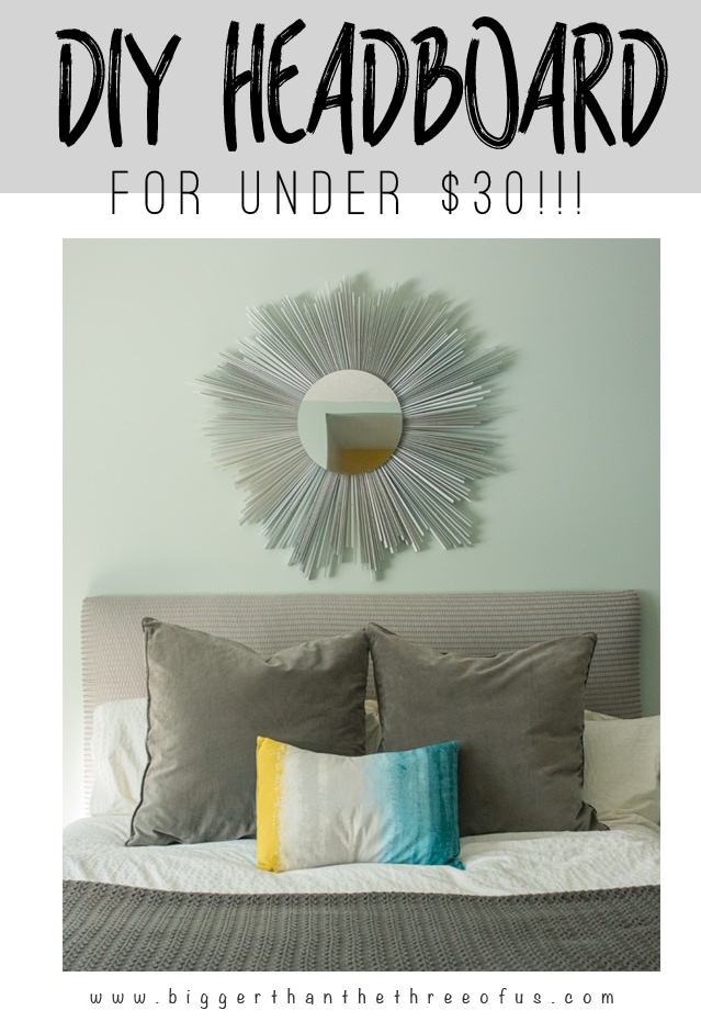 Make this DIY Headboard for $30! This tutorial will show you how using cheap foam padding!