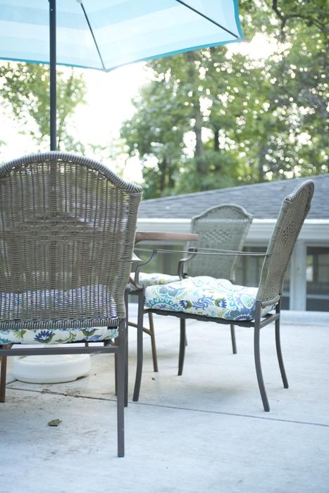 chair cushions and umbrella