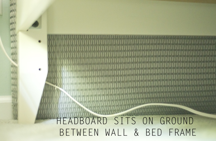 headboard sitting on ground