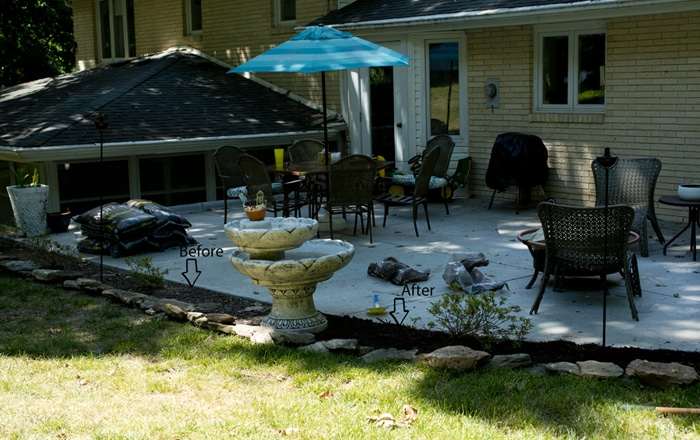 before and after patio progress