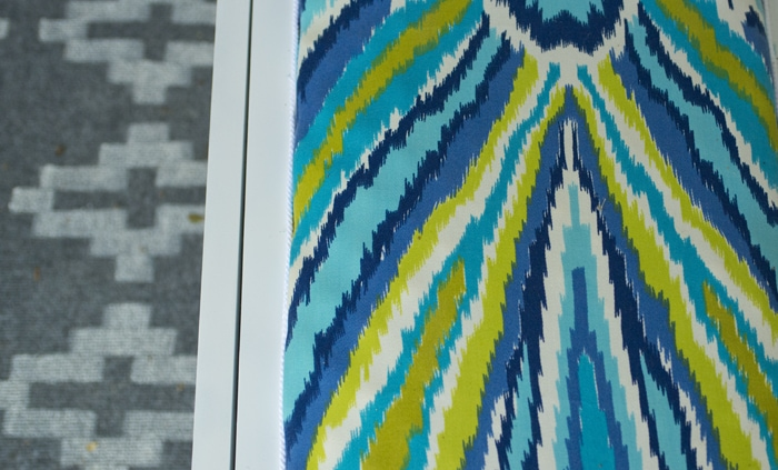 closeup of fabric with painted rug