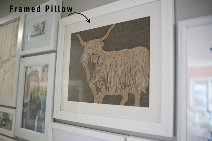 framed pillow as artwork