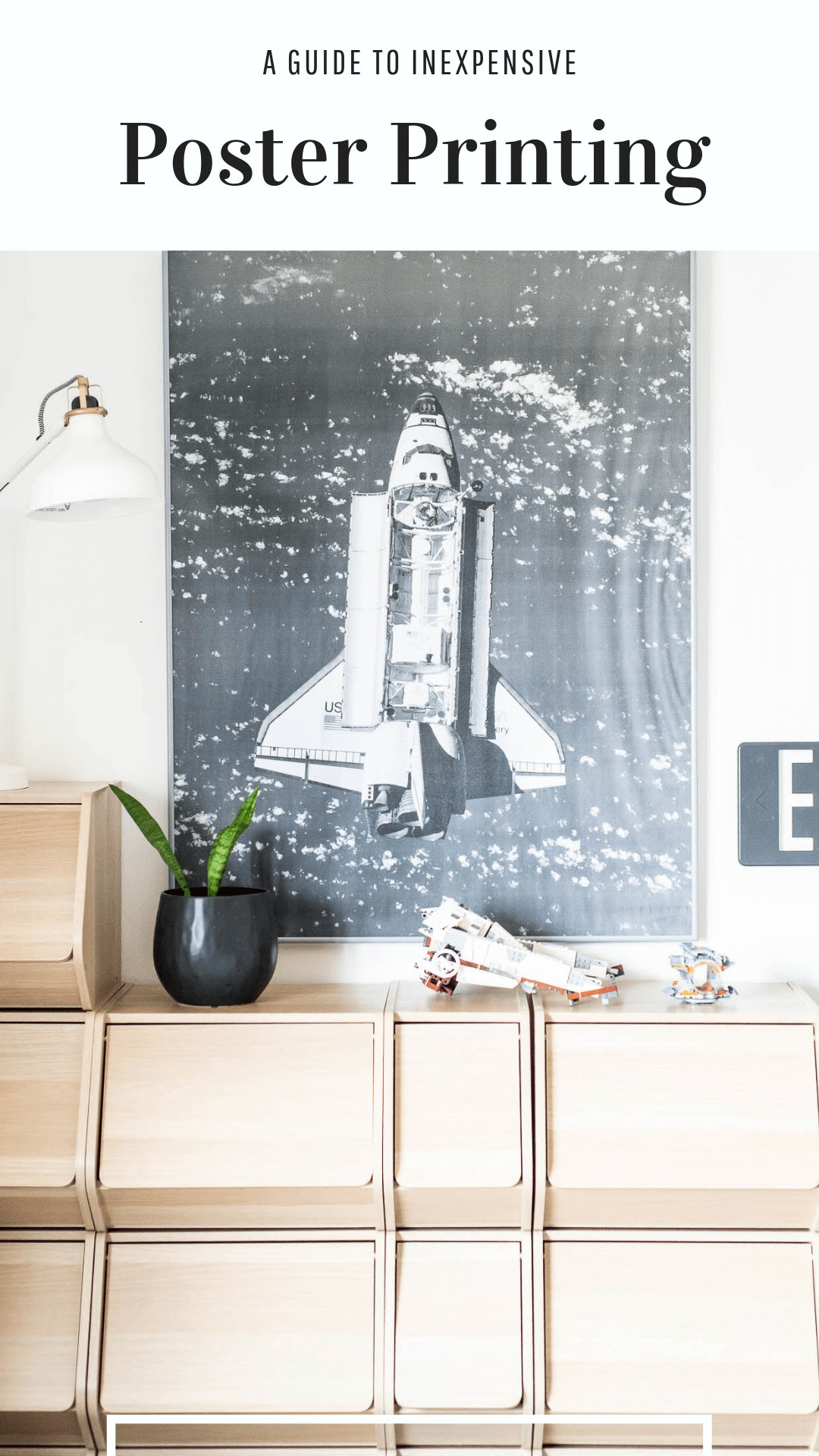 Poster Print with space ship in kids room