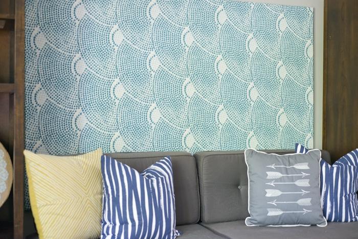 closeup of fabric covered board