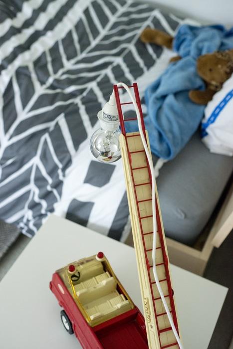firetruck ladder lamp closeup