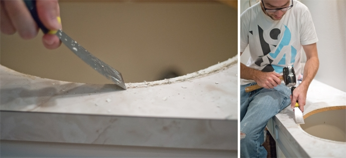 how to get old sink caulk off to install a new sink