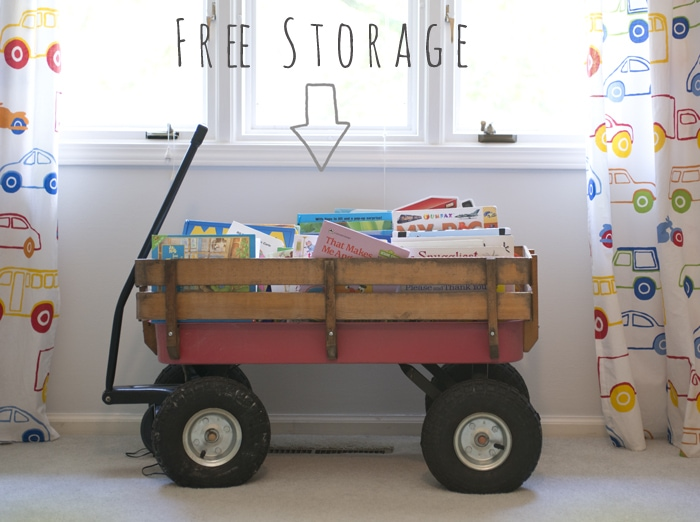 using a wagon as book storage