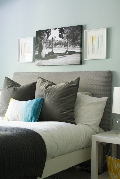 Watercolor art flanking bed