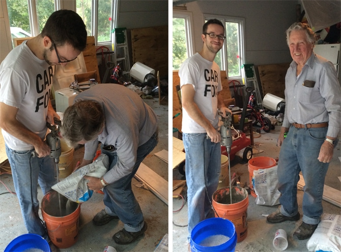 grandpa and Luke mixing mortar