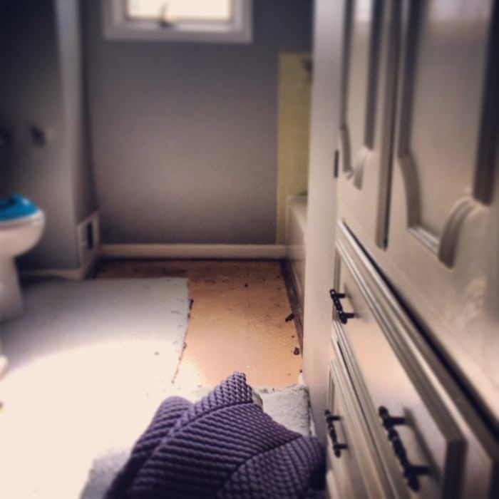instagram picture of bathroom carpet in progress