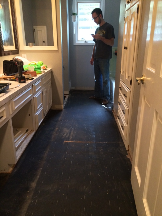 subfloor all up and moisture barrier down