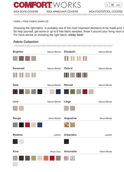 comfort works fabric options for custom slipcover
