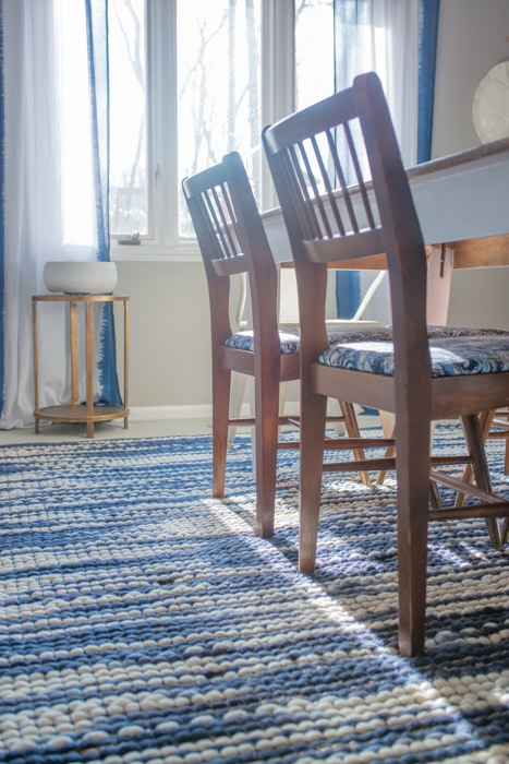 Formal Dining Room with Blue and White Rug