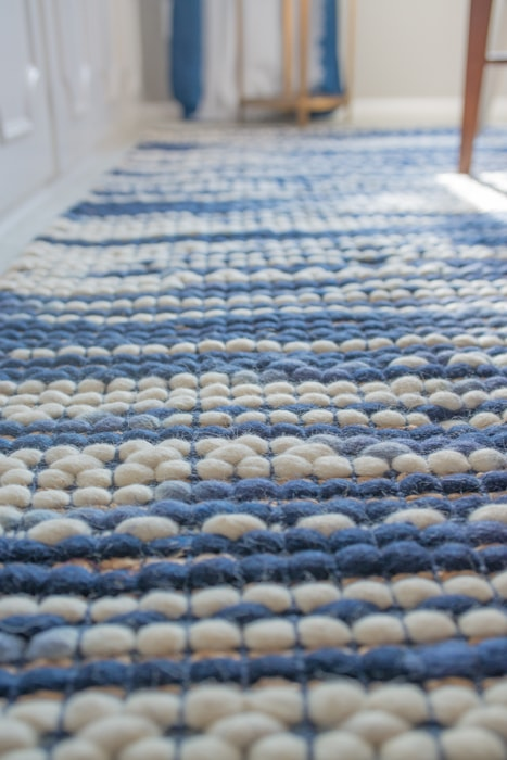 Plush Blue and White Target Rug for Formal Dining Room under Table