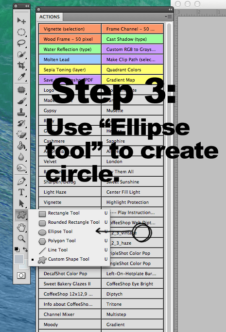 Step three using elipse tool to create a circle