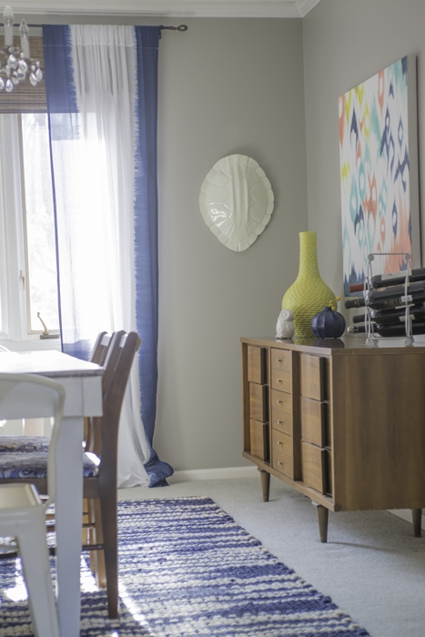 turtle shell with ikat painting in formal dining room