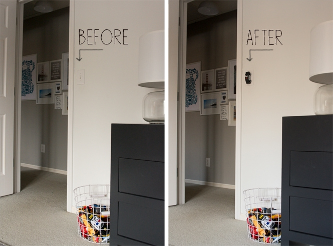 Before and after race car light switch for toddler big boy room diy