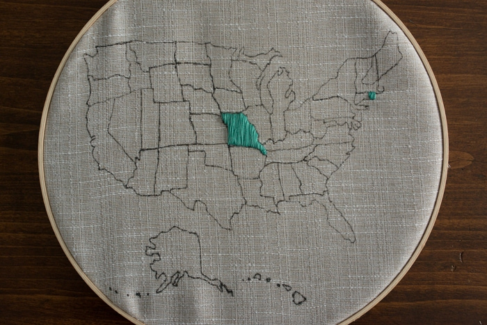 Embroidered United States Wall Art