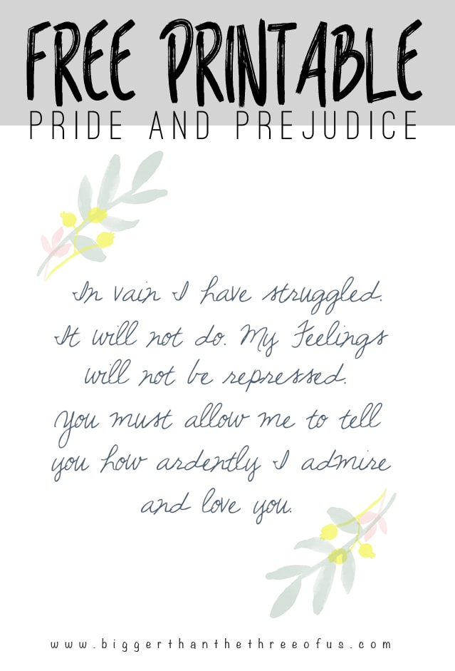 Love Pride and Prejudice? Me too! Download this Free Printable!