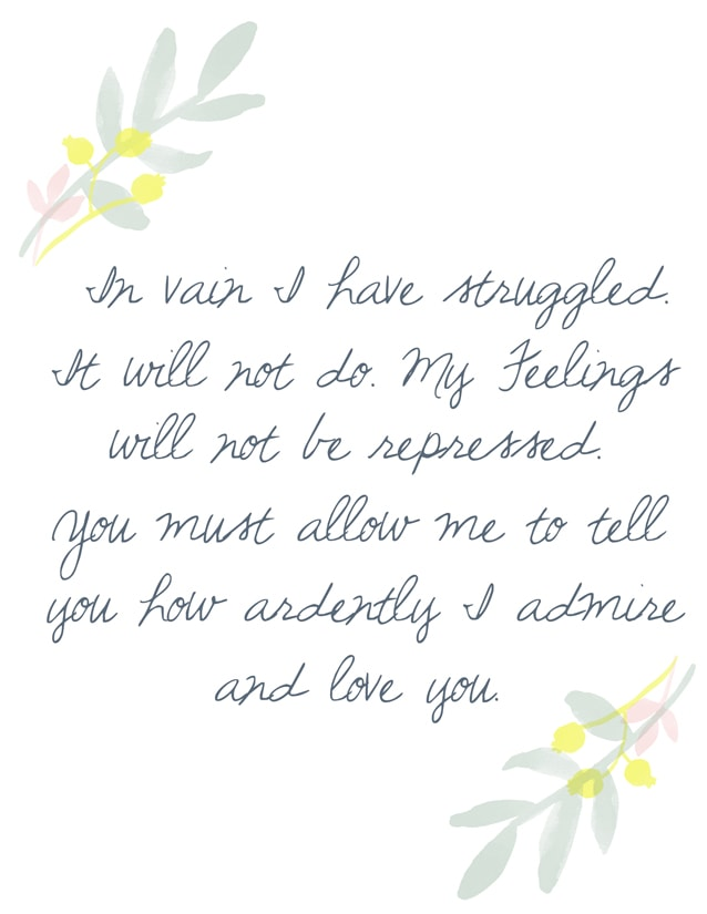 Pride and Prejudice free printable for blog