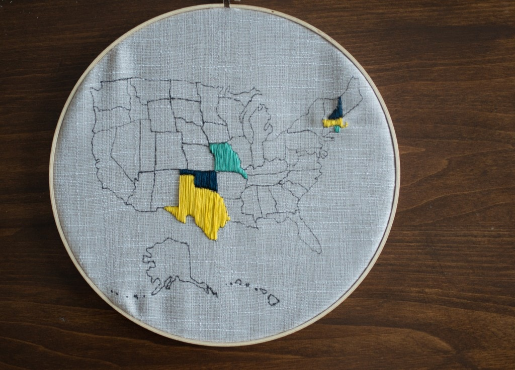 embroidered united states map
