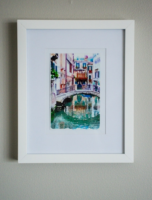 DIY watercolor printed travel art for wall gallery