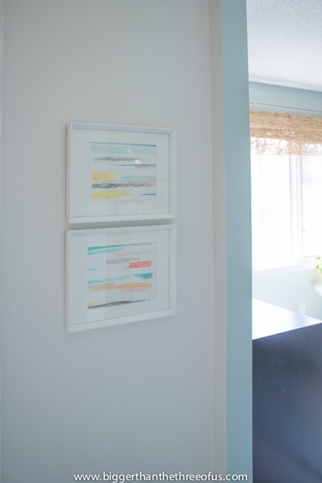 DIY Watercolor art in master bathroom nook