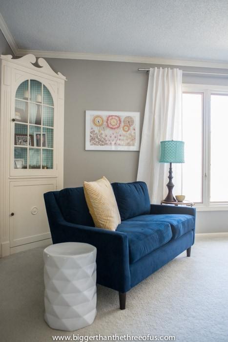 Custom Built-in with Modern Blue Velvet Couch