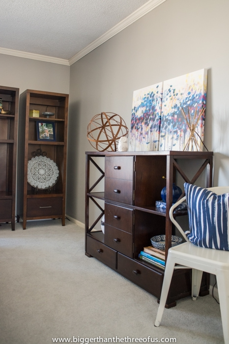 In progress living room with Caroline Wright Art