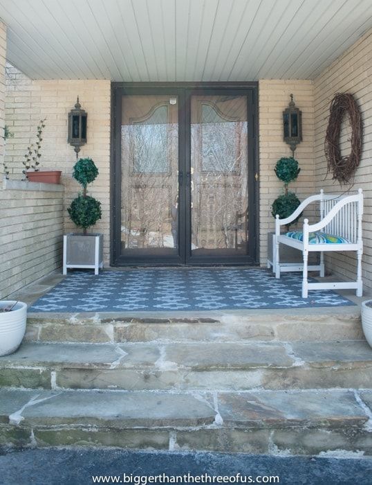 Front Porch with new planters by Bigger Than The Three Of Us