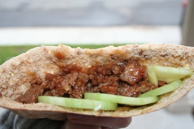 Pork and Cucumber Pitas
