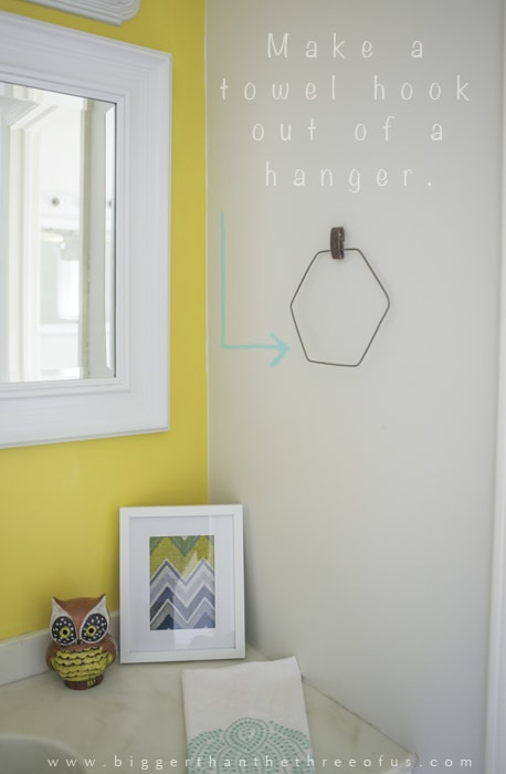 Use an old wire to make a hexagon towel ring by Bigger Than The Three of Us