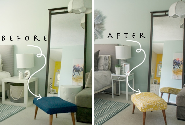 Before and after ottoman makeover