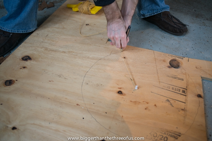 Use a String to cut a circle out of plywood