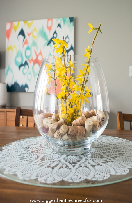 Flowers from the garden in the formal dining room