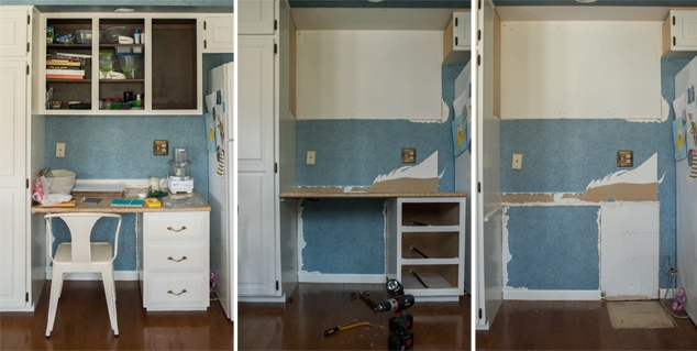 Taking kitchen cabinets out progression