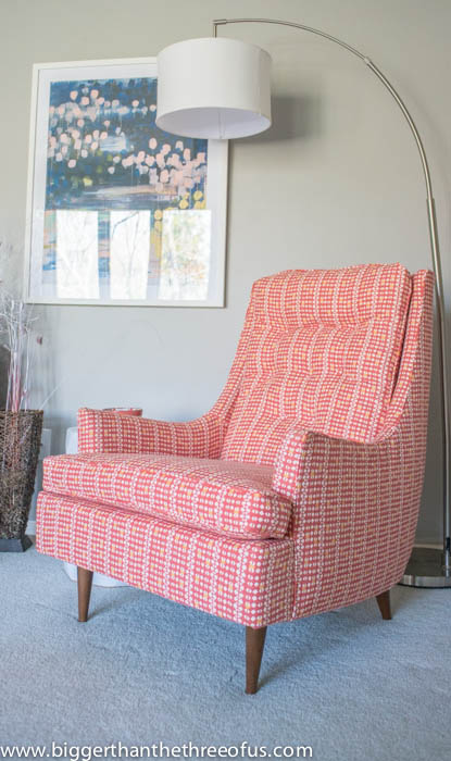 Vintage mid century chair in living room